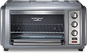 Hamilton Beach 31434 Easy Reach Toaster Oven with Roll-Top Door, Spacious Interior, Stainless Steel