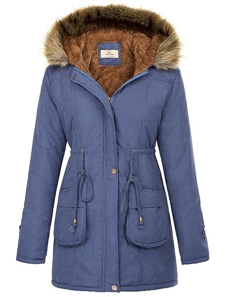 0d21bfab8 GRACE KARIN Womens Hooded Warm Winter Thicken Fleece Lined Parkas Long Coats