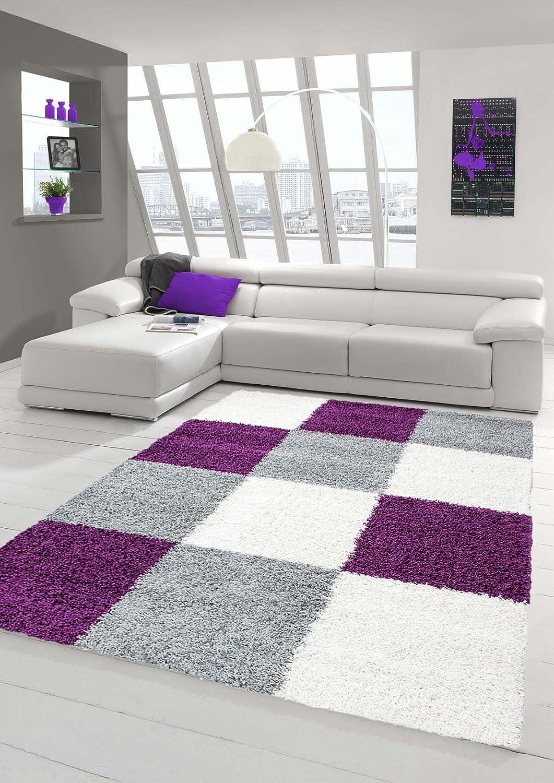 Shaggy Teppich Hochflor Langflor Teppich Wohnzimmer Teppich Gemustert in Karo Design Lila Grau Creme Größe 200 x 290 cm