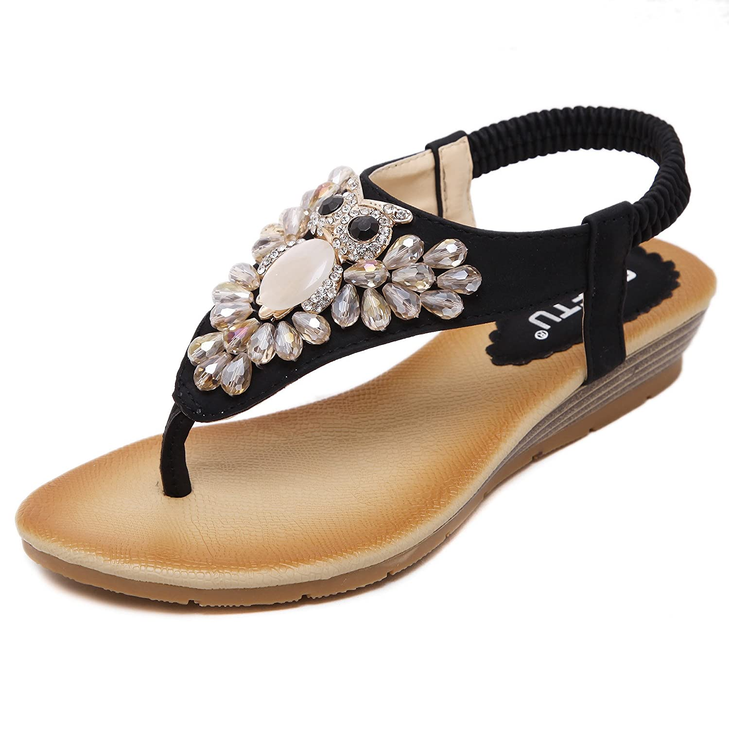 254a5b0f467f65 Women s Boho Peep Clip Toe Wedge Heel Elastic T-Strap Rhinestone Bohemia  Roman Sandals Summer Beach Post Sandals Flip Flops Shoes Thongs   Free  Earrings