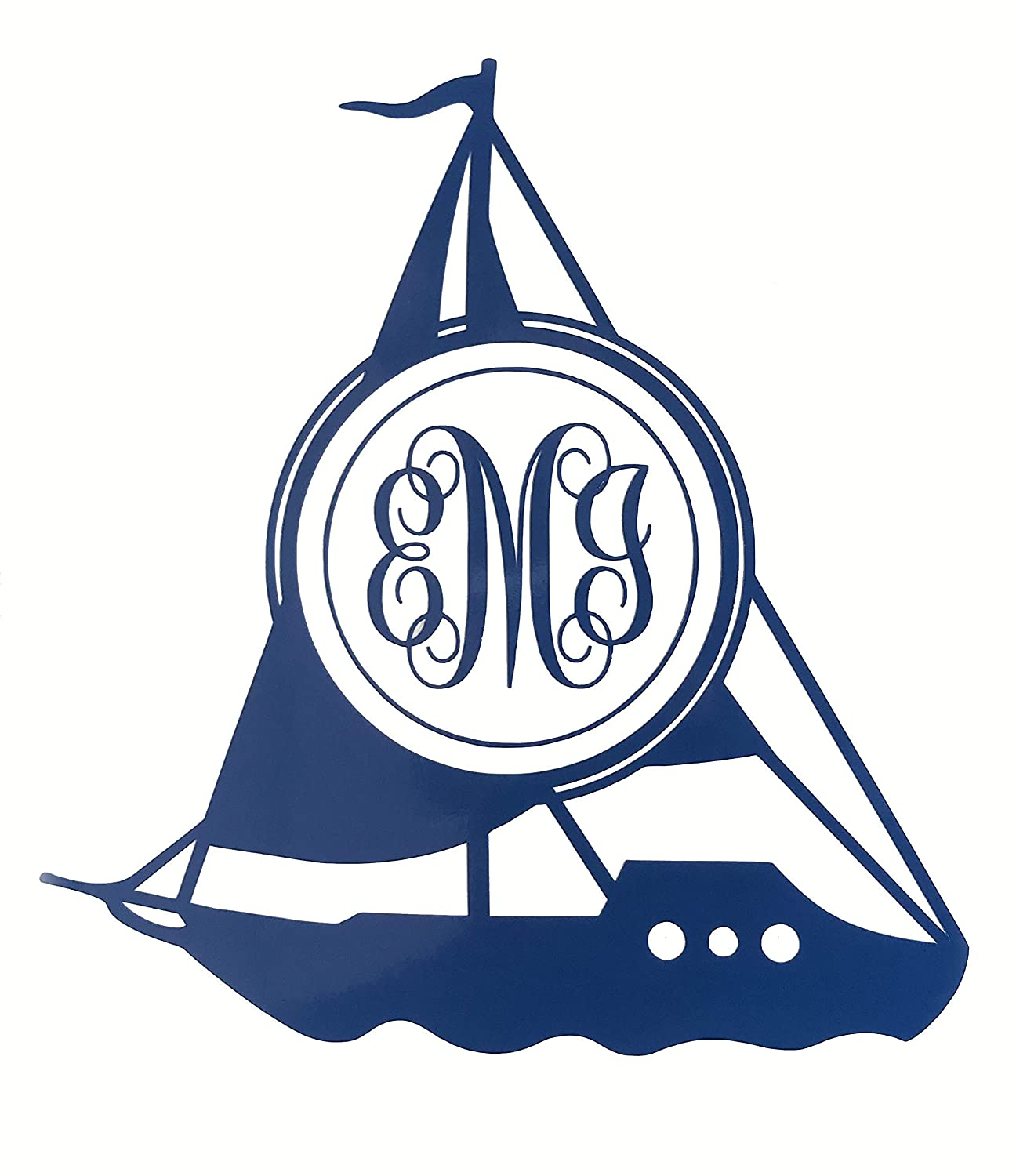 WickedGoodz Custom Sailboat Monogram Vinyl Decal - Personalized Initial Sticker, for Coolers, Boats, Laptops, Car Windows - Boat Gift