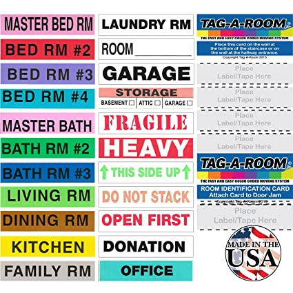 Amazon.com : Tag-A-Room Color Coded Home Moving Box Labels with Door ...