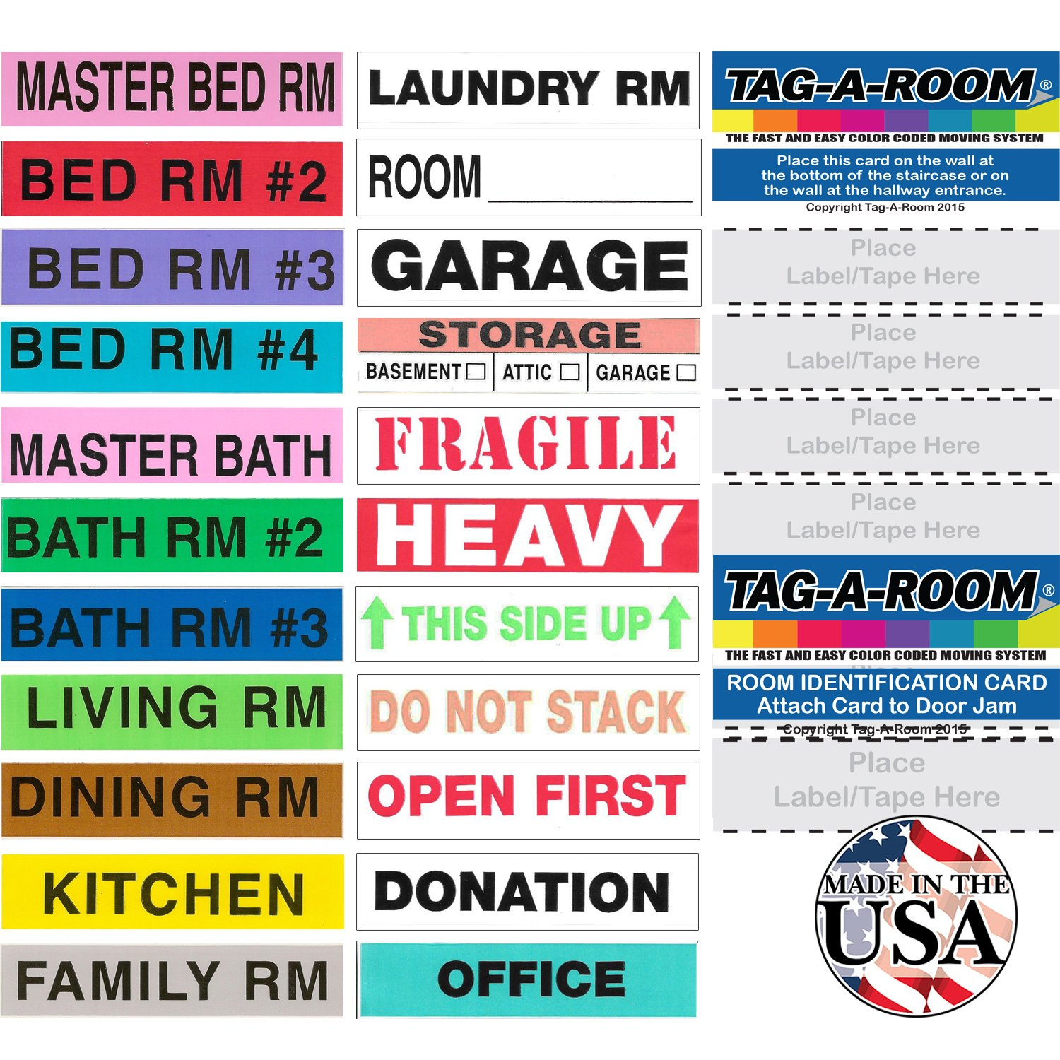 Tag-A-Room Color Coded Home Moving Box Labels with Door IDs, 1150 Count Moving Stickers, Moving Supplies