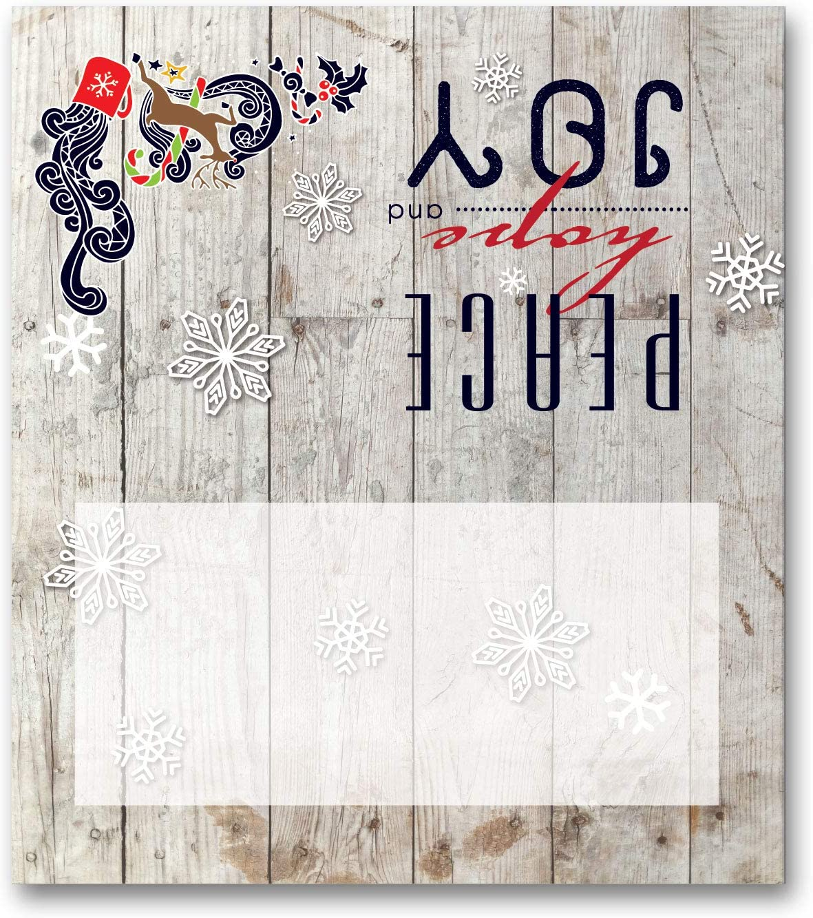 Stonehouse Collection Rustic Christmas Place Cards - 25 Christmas Holiday Table Tents - Name Place Cards (Peace & Joy)
