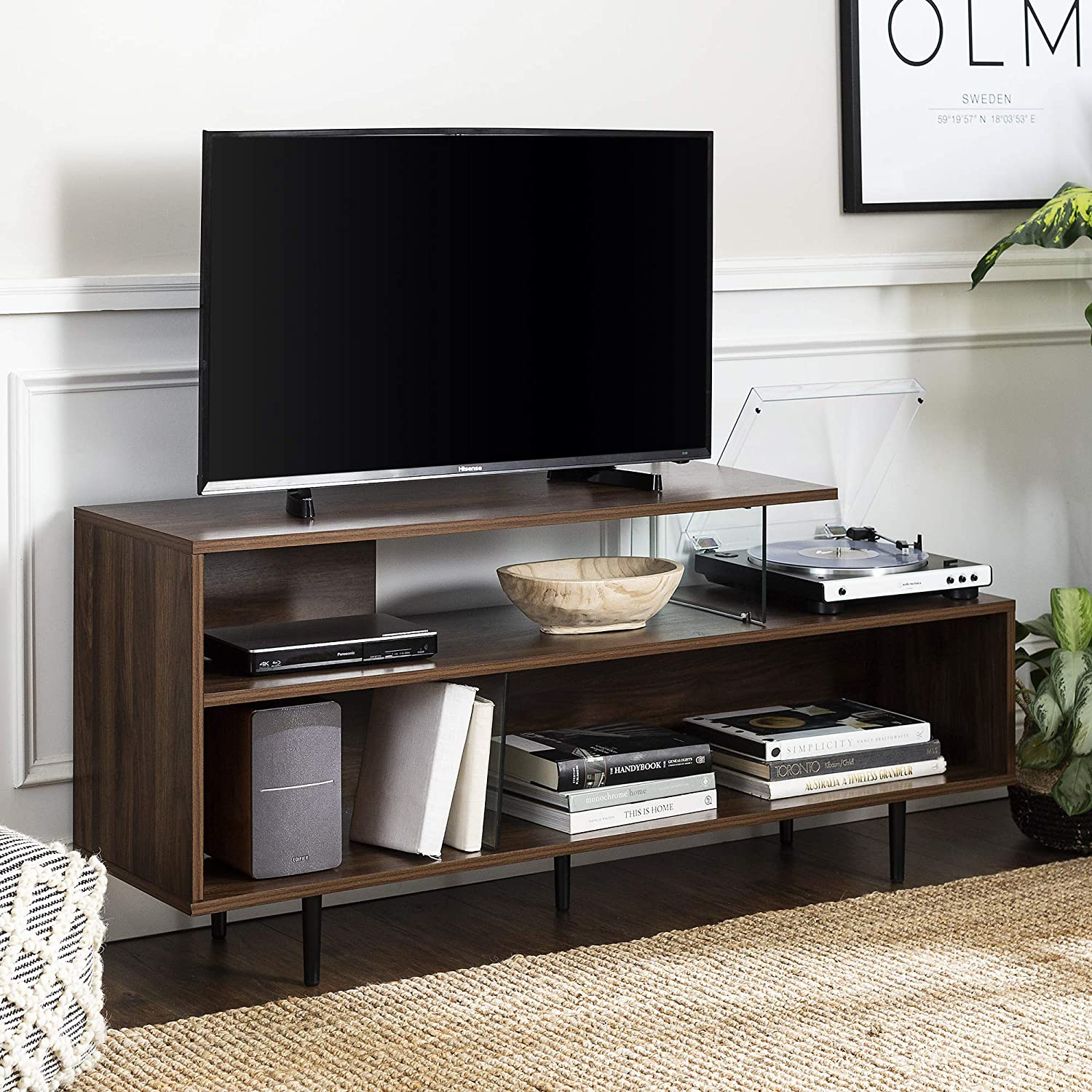 Walker Edison Asymmetrical Wood and Glass Universal Stand with Open Shelves Cabinet Doors TV's up to 64