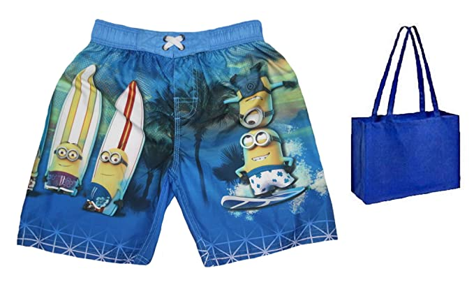 92eb91ecfd Despicable Me Big Boys' Minions Swim Trunks and Tote - 2 Piece Gift Set (