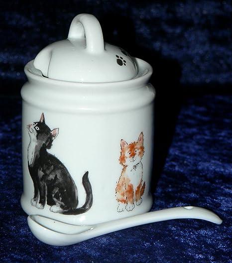 Gato de cerámica tarro para mostaza y cuchara porcelana tarro para mostaza con todos los redondo