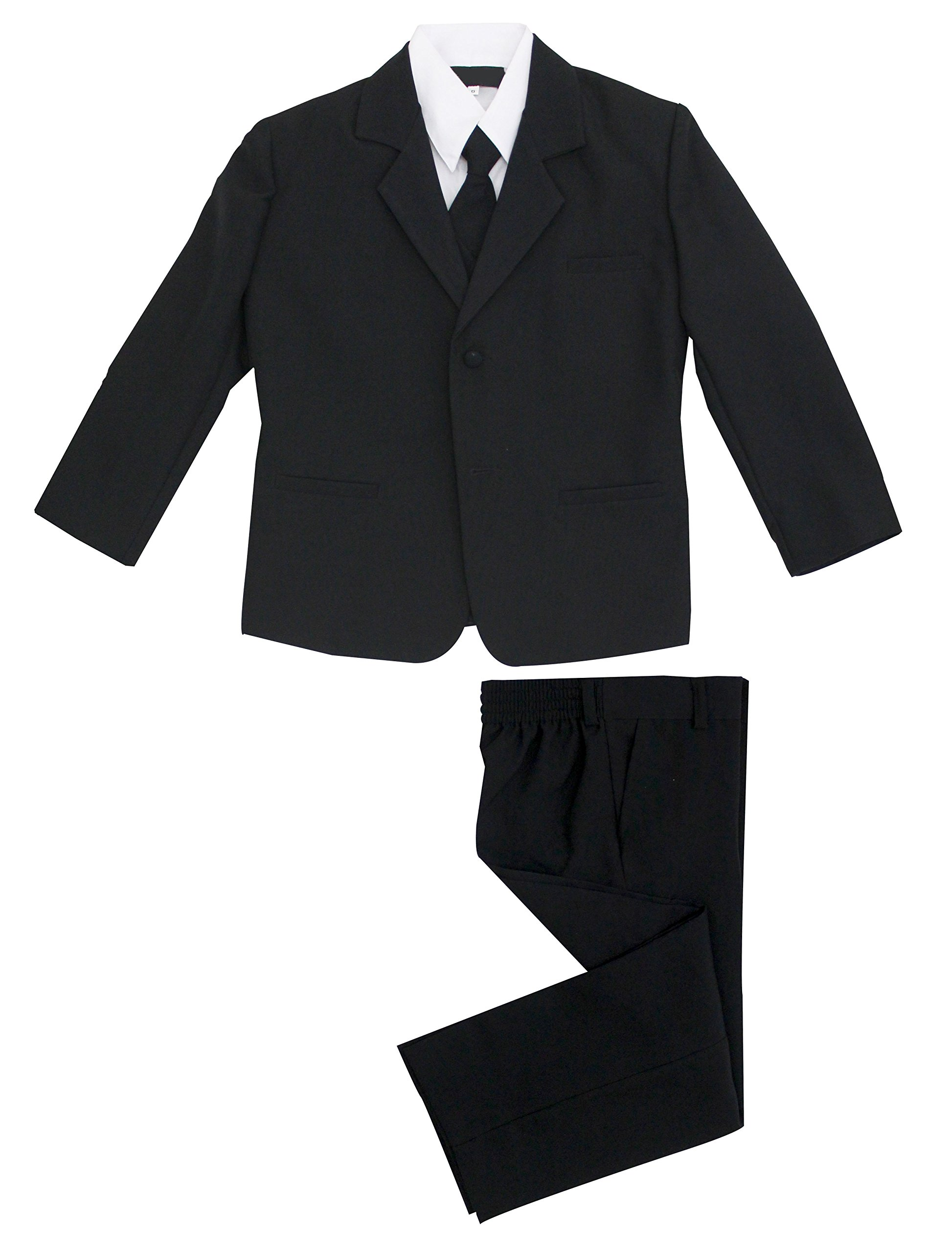 Luca Gabriel Toddler Boys' 5 Piece Classic Fit No Tail Formal Black Dress Suit Set with Tie and Vest - Size 4T by Luca Gabriel (Image #5)
