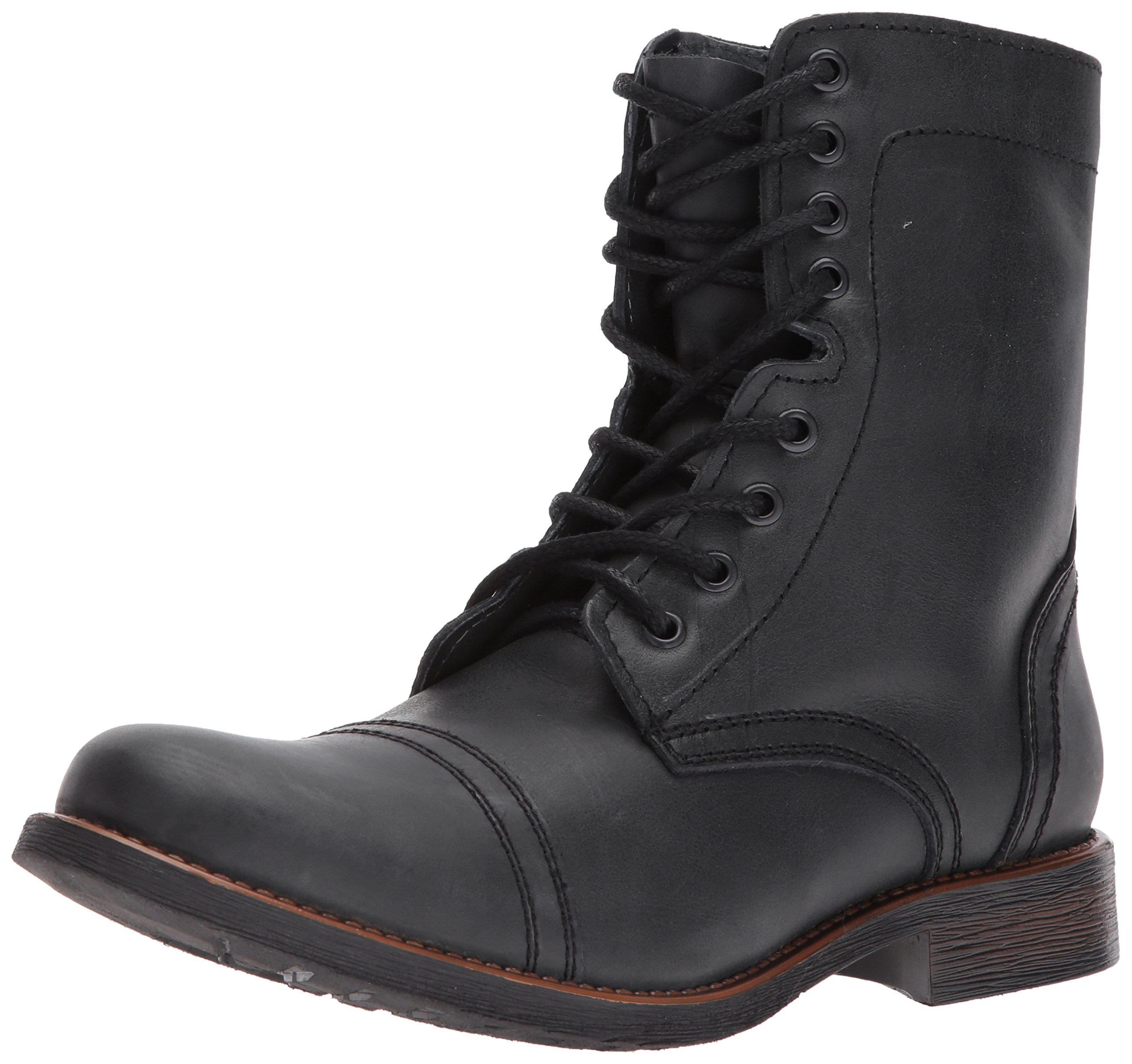 Steve Madden Men's Troopah-C Combat Boot, Black Leather, 10.5 M US