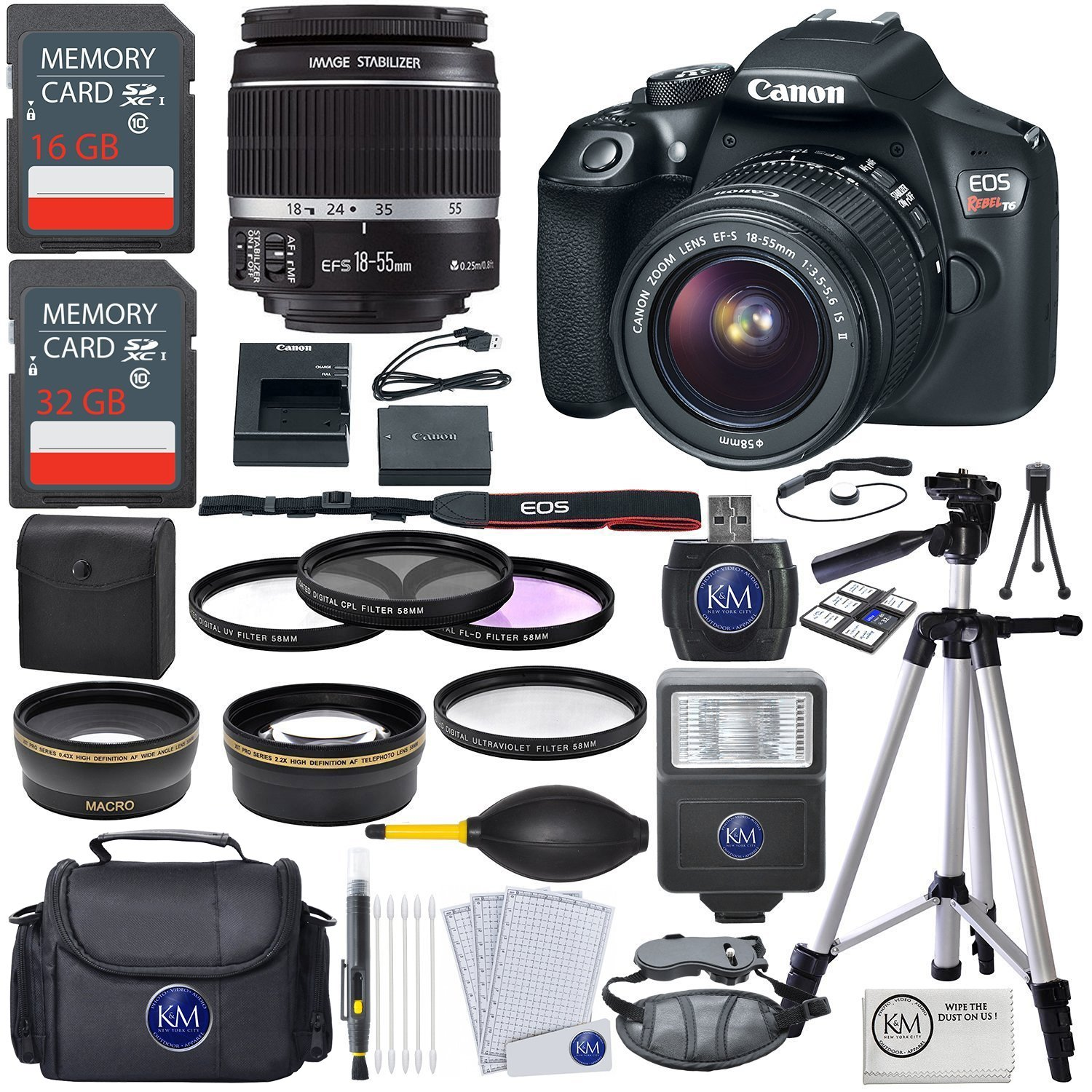 Canon EOS Rebel T6 DSLR Camera w/ EF-S 18-55mm Lens + Premium Accessory Bundle by Canon