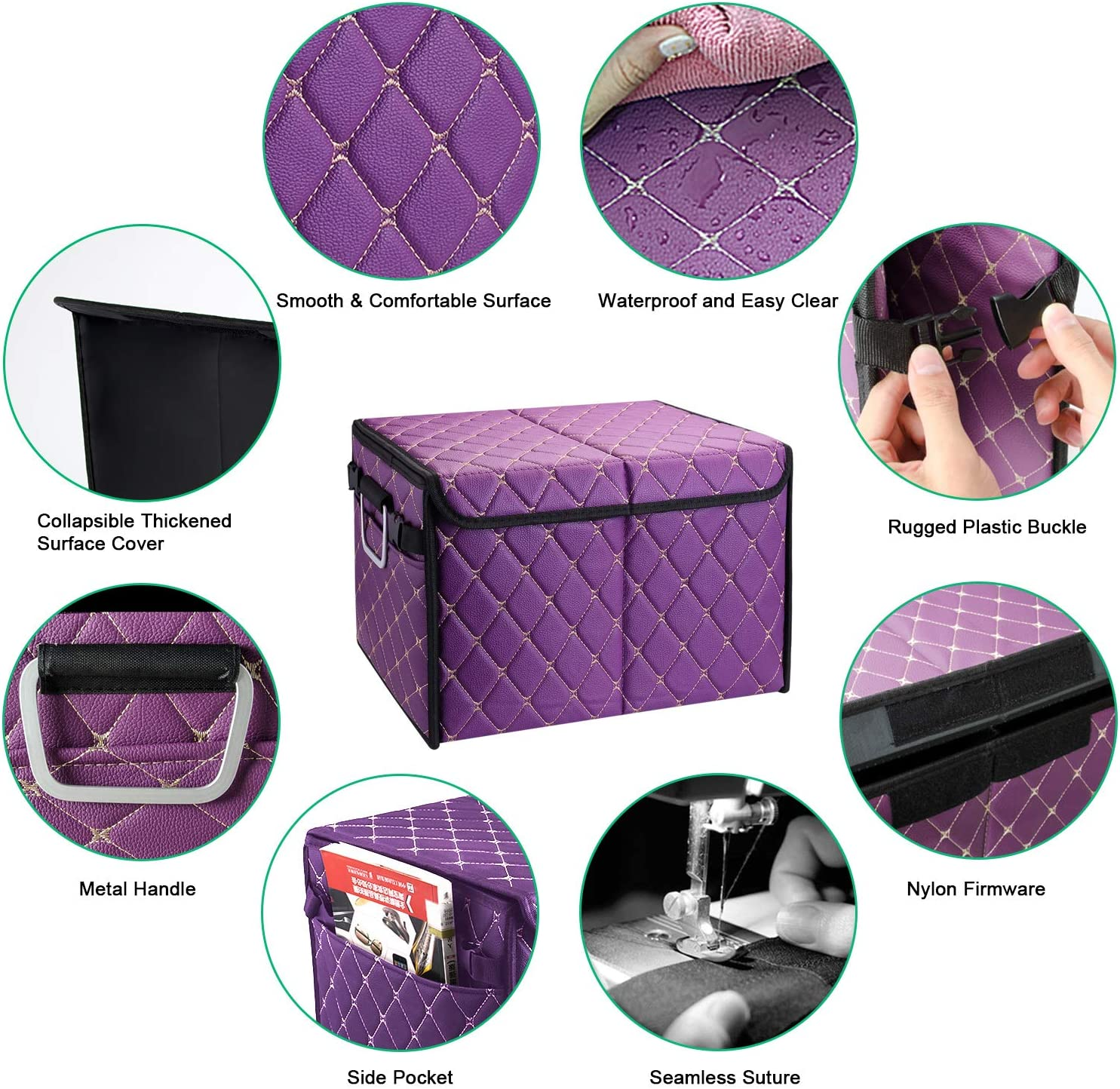 Purple Small Win Power Leather Car Trunk Organizer with Cover Heavy Duty Waterproof Auto Cargo Box