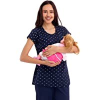 ZEYO Women's Cotton Navy Blue & Pink Floral Print Feeding Top
