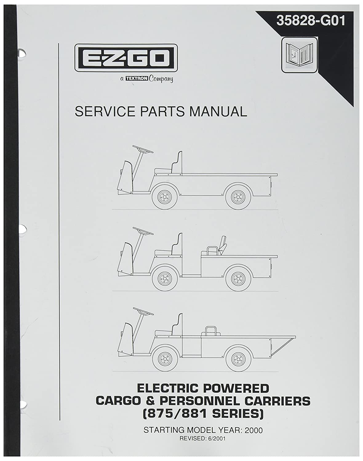 ezgo 35828g01 2000 2002 service parts manual for electric cargo and rh  amazon co uk Repair Manuals Shop Manuals