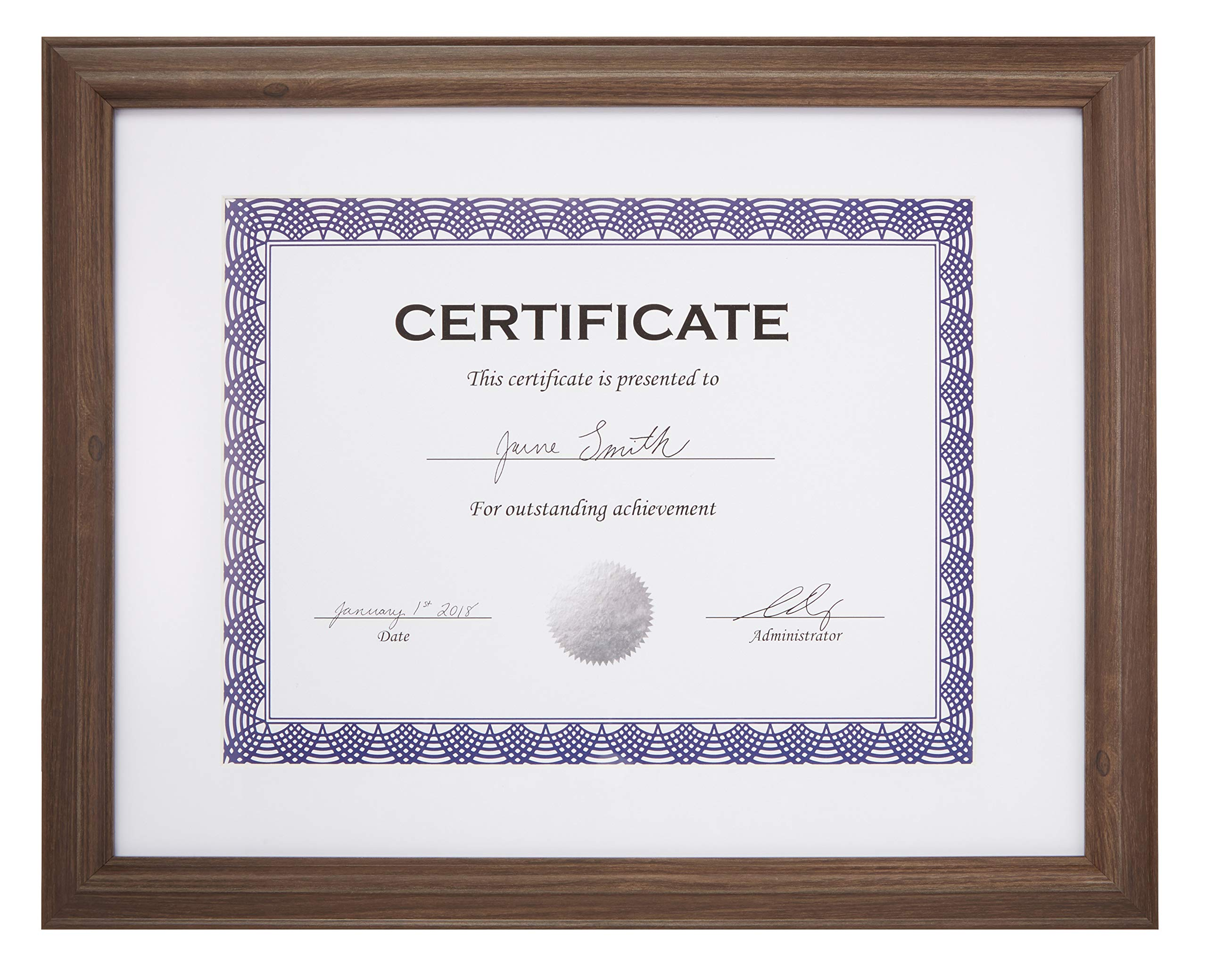AmazonBasics Certificate Document Frame With Mat, 8.5'' x 11'', Aged Walnut, 3-Pack
