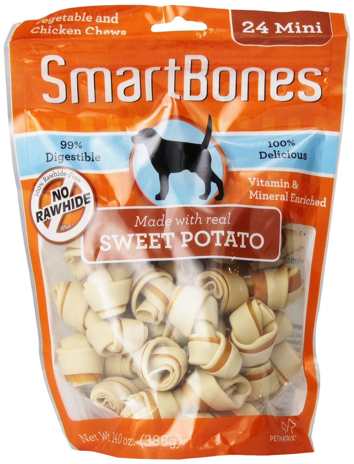 SmartBones Sweet Potato Dog Chews, Mini, 24ct 2 pack