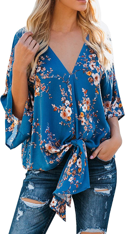 valigia imitare Banco  Farktop Womens Floral V Neck Tie Knot Front Blouses Bat Wing Short Sleeve  Chiffon Tops Shirts at Amazon Women's Clothing store