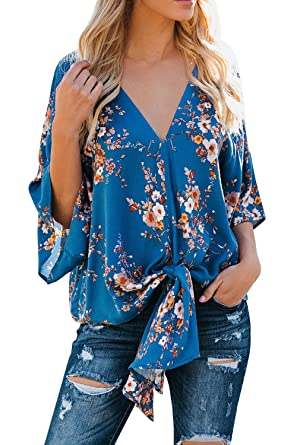 4e0290e11705ca Womens Floral Tie Front Chiffon Blouses V Neck Batwing Short Sleeve Summer  Tops Shirts Blue