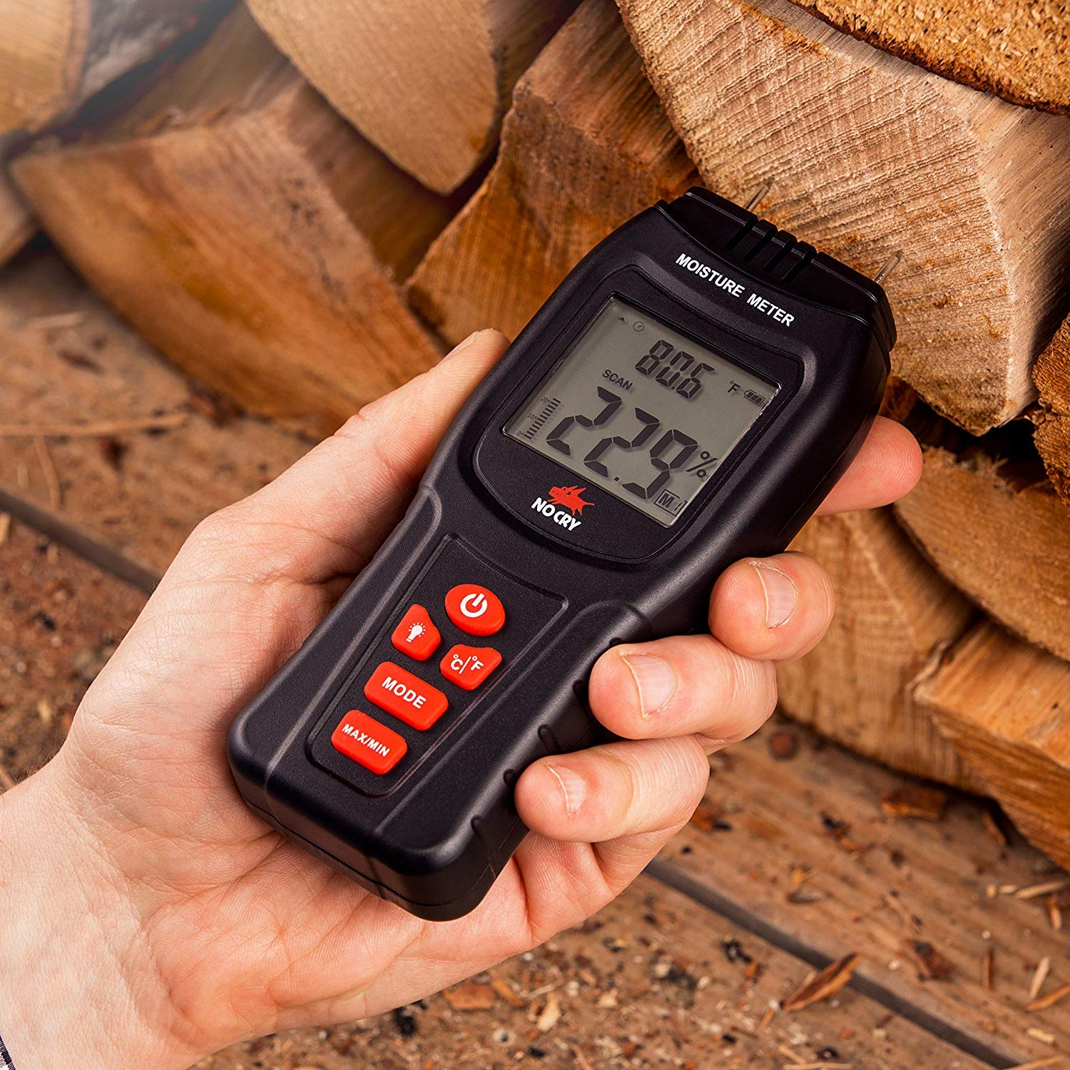 NoCry Digital Moisture Meter - Water Leak Detector and Thermometer for Wood & Building Materials, Battery and Replacement Electronic Probes Included by NoCry (Image #4)
