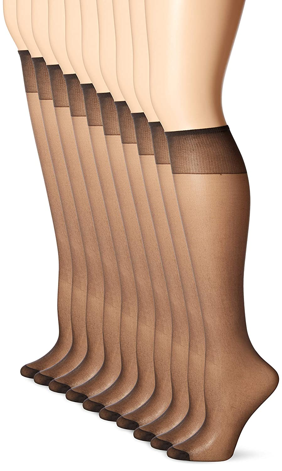 5ff6f6b1afdbd3 L'eggs Women's 10 Pair Everyday Reinforced Toe Knee Highs, Nude, One Size  at Amazon Women's Clothing store: