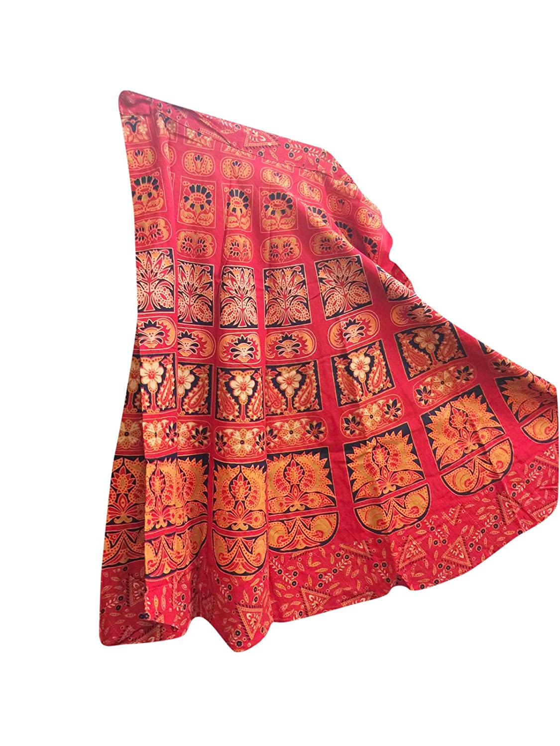 Mogul Interior Womens Wrap Around Skirt Red india Printed Cotton One Size