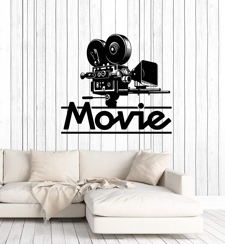 Vinyl Wall Decal Movie Art Film Cinema Filming TV Camera Stickers Mural Large Decor (g1664) Black