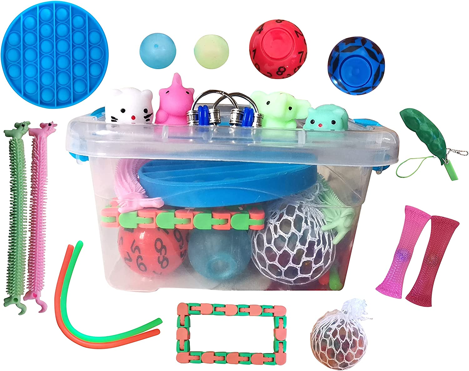 JHXXXL 20Pcs Sensory Fidget Toys Set, Relieves Stress and Anxiety Fidget Toy for Kids and Adults, Fidget pop,Stretchy String,Stress Balls for Party Favors, Classroom Rewards,