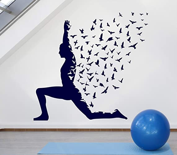 Amazon.com: Large Vinyl Decal Yoga Pose with Birds Flying ...