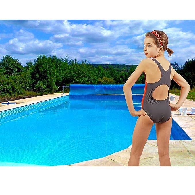 Stanteks sk0036 Bañador para niña con Flotador Espalda Bañador schwimmanzüge 4BB2 Dung, Gris - Rojo: Amazon.es: Deportes y aire libre