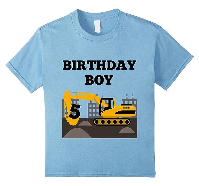 Kids 5th Birthday Construction Theme Bulldozer Boys T Shirt 4 Baby Blue