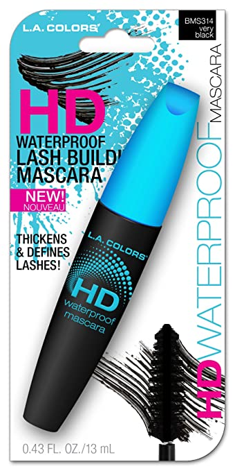 L.A. Colors Lash Building Waterproof Mascara, Very Black, 0.43 Fluid Ounce (Pack of