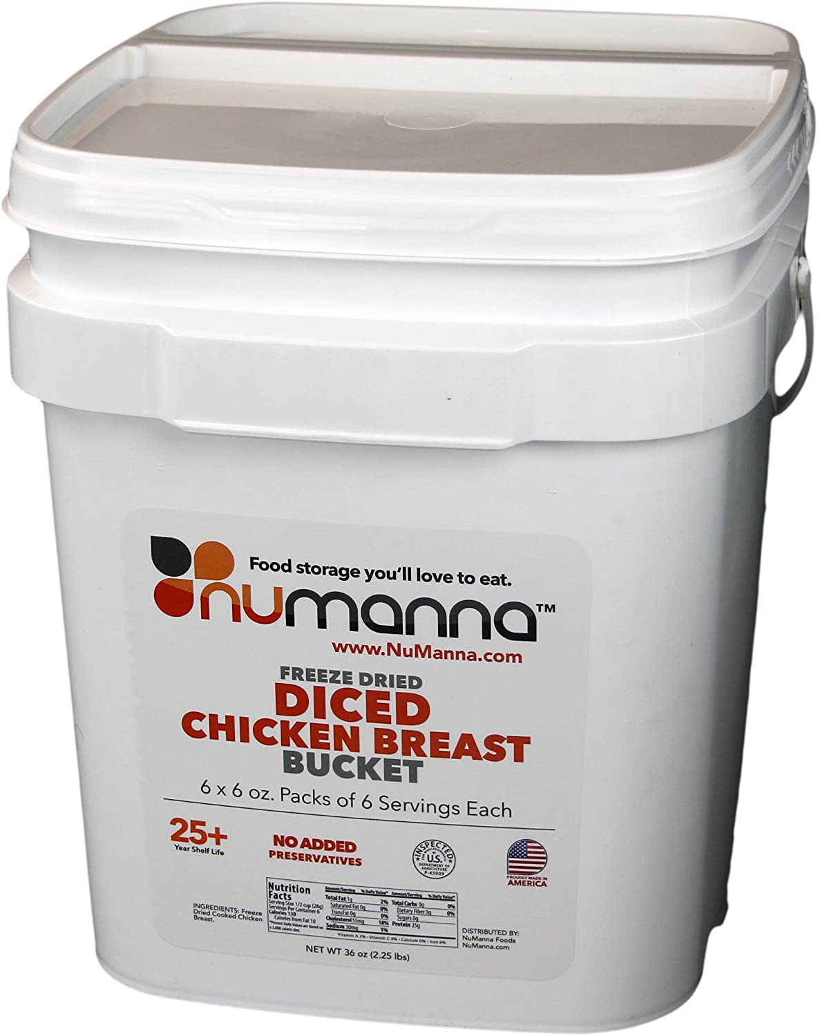 NuManna Diced Chicken Breast Bucket, 36 Servings - Emergency Survival Food Storage Kit, Separate Rations, in a Bucket, 25 Plus Year Shelf Life, GMO-Free