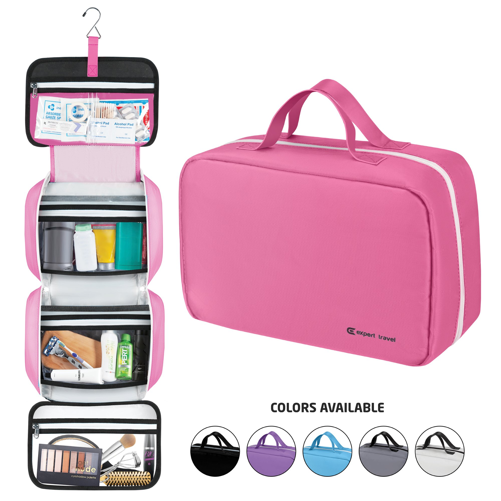 "Premium Hanging Toiletry Bag Travel Kit for Men and Women | Large (34""x11"") 