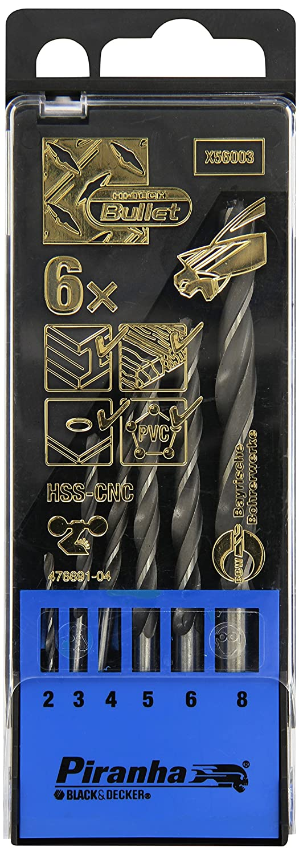 5 3 6 y 8 mm. Cassette 6 brocas HSS-CNC para metalBullet: /ø 2 4 BLACK /& DECKER X56003-QZ