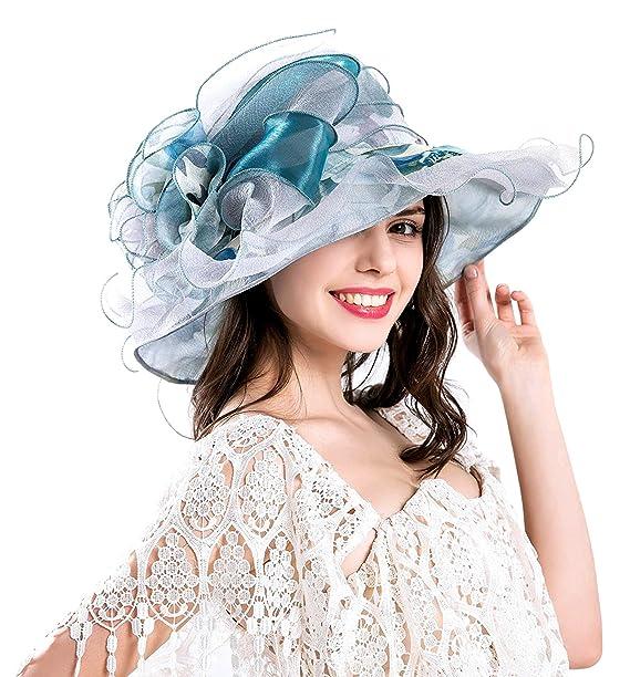 EXCHIC Mujer Retro Sombrero Grande de ala Ancha Gasa de Flores (Azul ... dc25d6a101e3