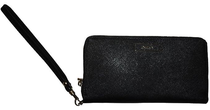 79f415c871b Women s DKNY Saffiano Leather Zip Around Wristlet Wallet Black ...