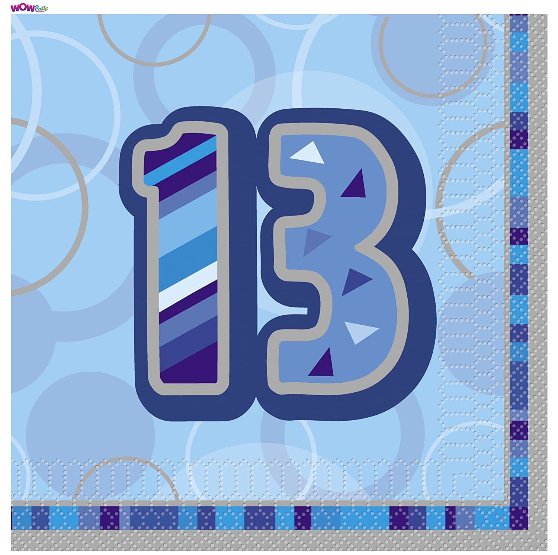 Pack of 16 WOW Glitz Blue 13th Birthday Paper Napkins