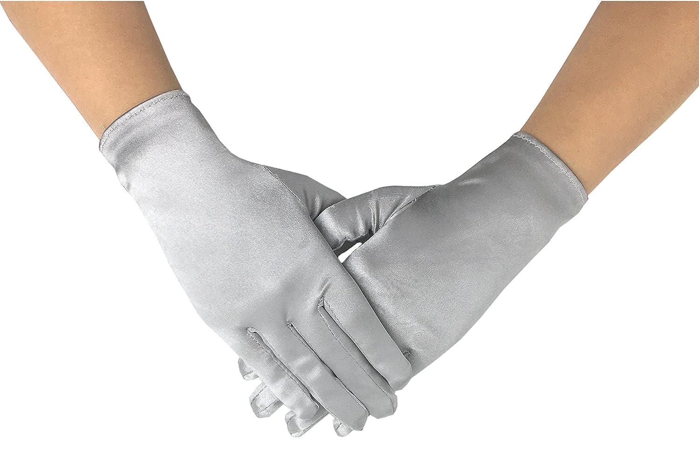 Deceny CB Satin Gloves for Women Short Formal Gloves Wrist Length Gloves CB-SSGL-I