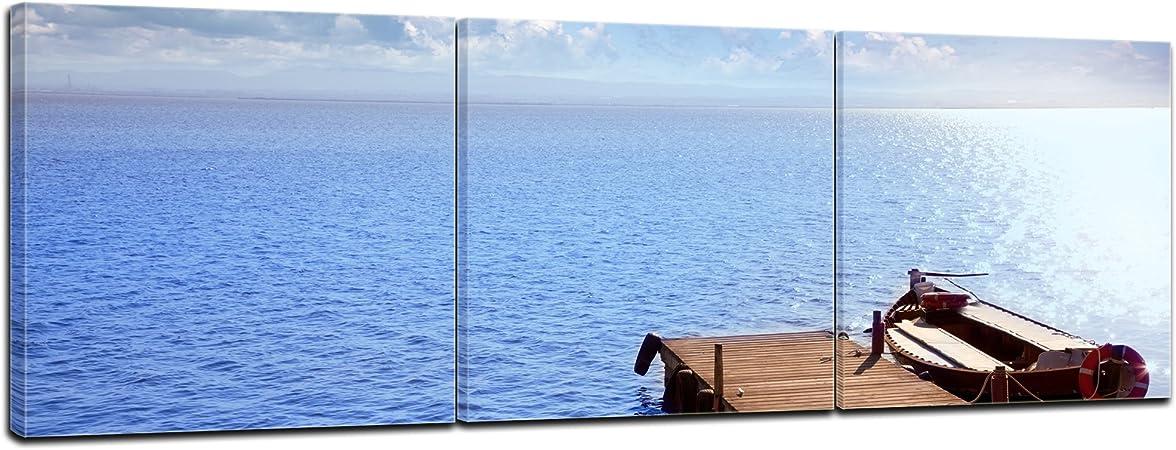 Bilderdepot24 Cuadros en Lienzo Panorama Albufera en El Saler de Valencia - España 180x60 cm 3 Piezas - Enmarcado Listo Bastidor Imagen. Directamente Desde el Fabricante: Amazon.es: Hogar