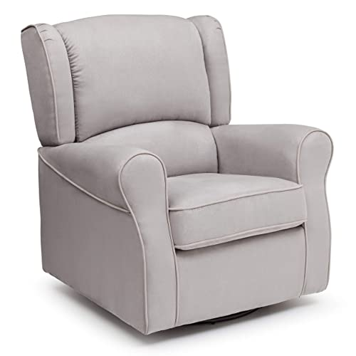 Delta Children Morgan Upholstered Glider Swivel Rocker Chair, Dove Grey
