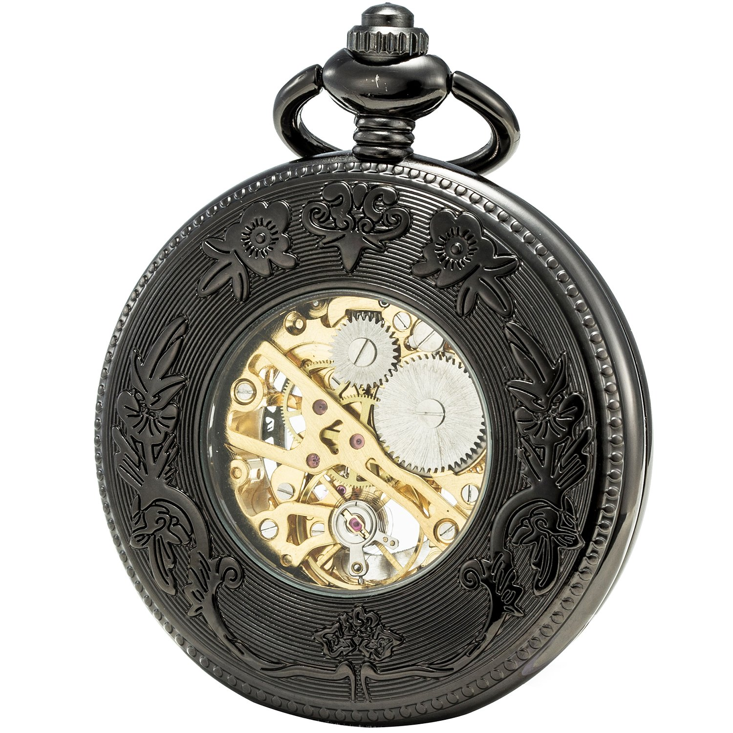 SEWOR Grace Koi Skeleton Pocket Watch Black Mechanical Hand Wind with Leather Gift Box (Black) by SEWOR (Image #2)