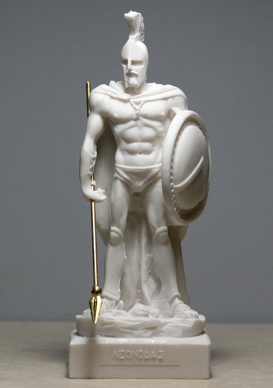 escultura del antiguo rey espartano Le/ónidas de 17 cm Figura decorativa de alabastro