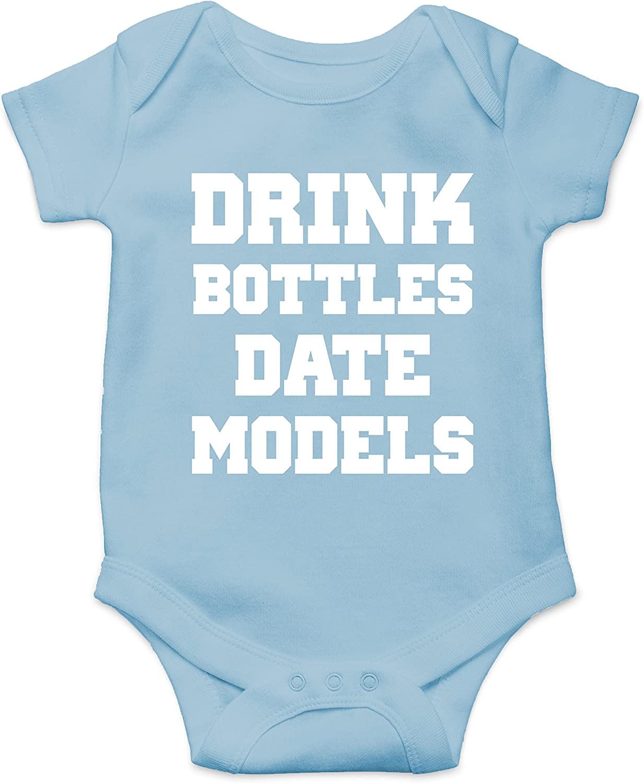 CBTWear Drink Bottles Date Models - Tit Faced Funny Newborn Romper Cute Novelty Infant One-Piece Baby Bodysuit