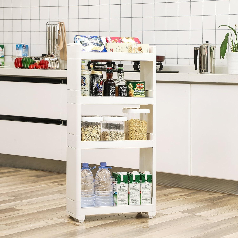 SONGMICS Nischenregal, rollbares Aufbewahrungsregal, schmaler Rollwagen,  20-stöckiges Kunststoffregal, mit Rollen, für Küche und Badezimmer, 205 x 20  x