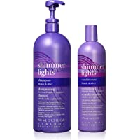 Clairol Shimmer Lights Shampoo 31.5 Ounce and Conditioner 16 Ounce for Blonde and Silver Hair, Value Pack