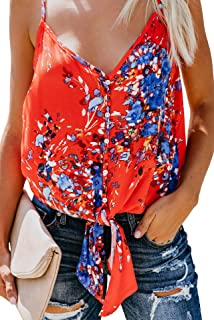 a4078bbbe0f54 Blibea Womens Summer Button Down Tie Front Floral Print Sexy V Neck  Spaghetti Strap Tank Top