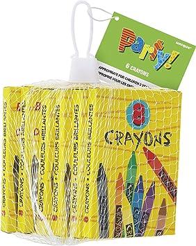 Unique Party - Regalitos para Fiesta, Paquete de 6 x 8 Crayolas , Modelos/colores Surtidos, 1 Unidad