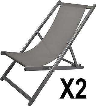 MATEXA – Lote de 2 – Chilena Confort Anti-UV de Aluminio, Silla Plegable de Exterior, Silla de terraza, Gris
