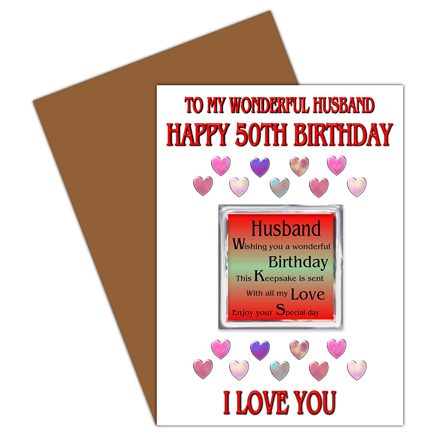 Husband 50th Happy Birthday Card With Removable Magnet Gift 50