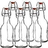 Easy Cap Beer Bottles - Kombucha Bottles - 16 oz. - Clear 6 pack - EZ Cap -- Original Cherry Blossom Hardware Bottles (6, Clear Mason Jar Bottles)