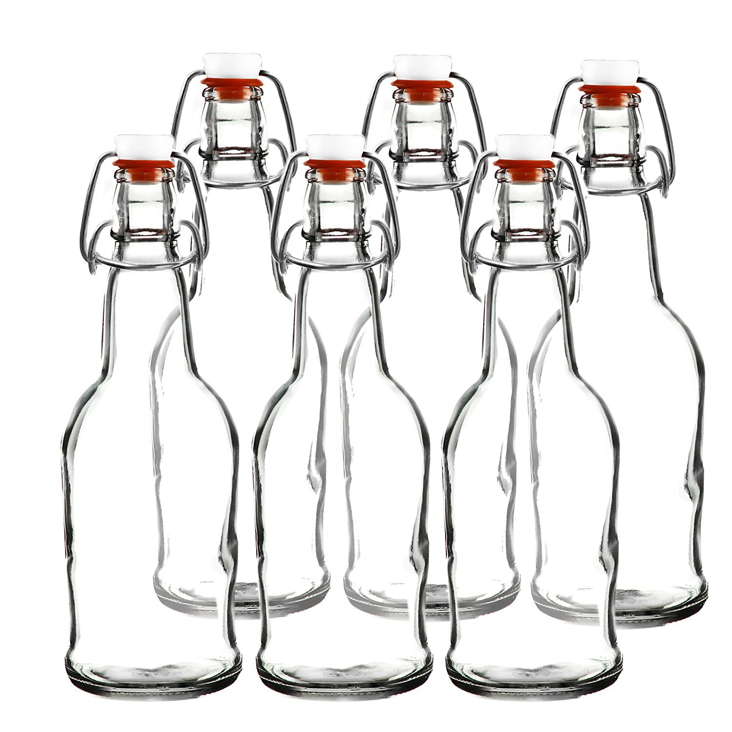 Easy Cap Beer Bottles - Kombucha Bottles - 16 oz. - Clear 6 pack - EZ Cap -- Original Cherry Blossom Hardware Bottles (6, Clear Mason Jar Bottles)